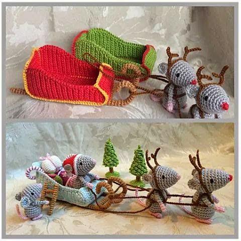 Como hacer ratoncitos amigurumis navideños a crochet