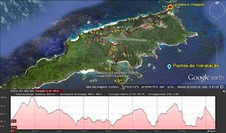 Meia Maratona de Noronha - Noronha K21 - percurso e altimetria