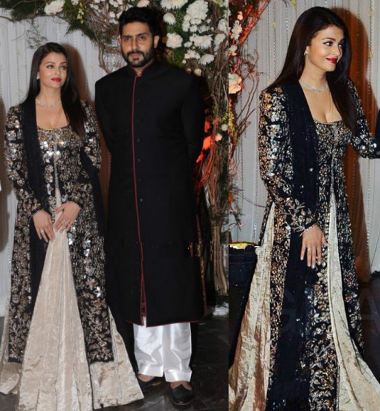 Aishwarya Rai Black and Cream Combination Mirror Embellished Kurta and Lehenga