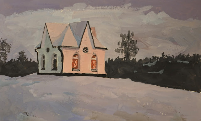A gouache painting of a chapel in snow. Red warm light reflects in windows adam stolterman