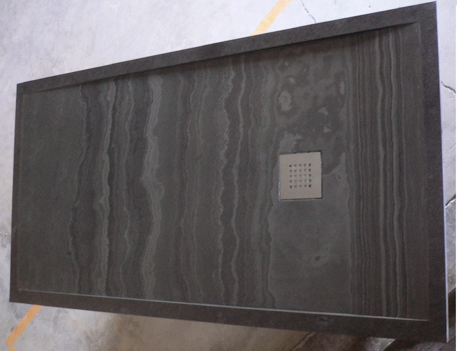 Marbres valls plat de dutxa mass s fet amb pissarra negra for Plats de dutxa