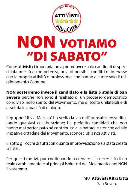 """M5S, gli """"Attivisti Altra Città"""" di San Severo """"Non votiamo """"Di Sabato"""""""