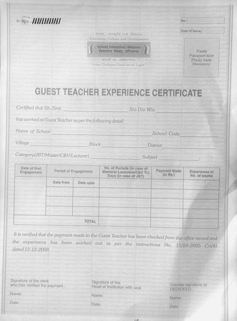 Guest tr experience certificate copyblank teacher haryana guest tr experience certificate copyblank spiritdancerdesigns Gallery