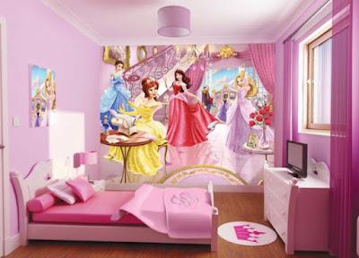 Gambar Kamar Tidur Anak Perempuan Warna Ungu Wallpaper Putri Disney Desain Terbaru