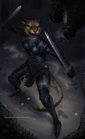 female warrior cat with swords in battle stance.