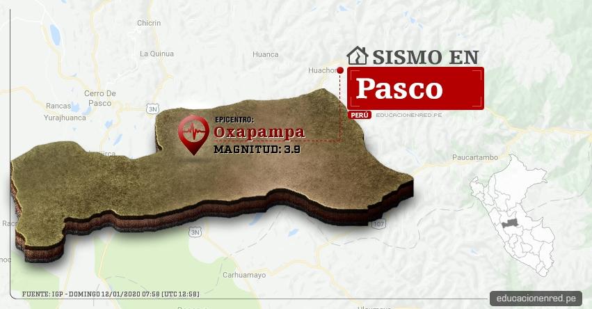 Temblor en Pasco de Magnitud 3.9 (Hoy Domingo 12 Enero 2020) Sismo - Epicentro - Oxapampa - IGP - www.igp.gob.pe