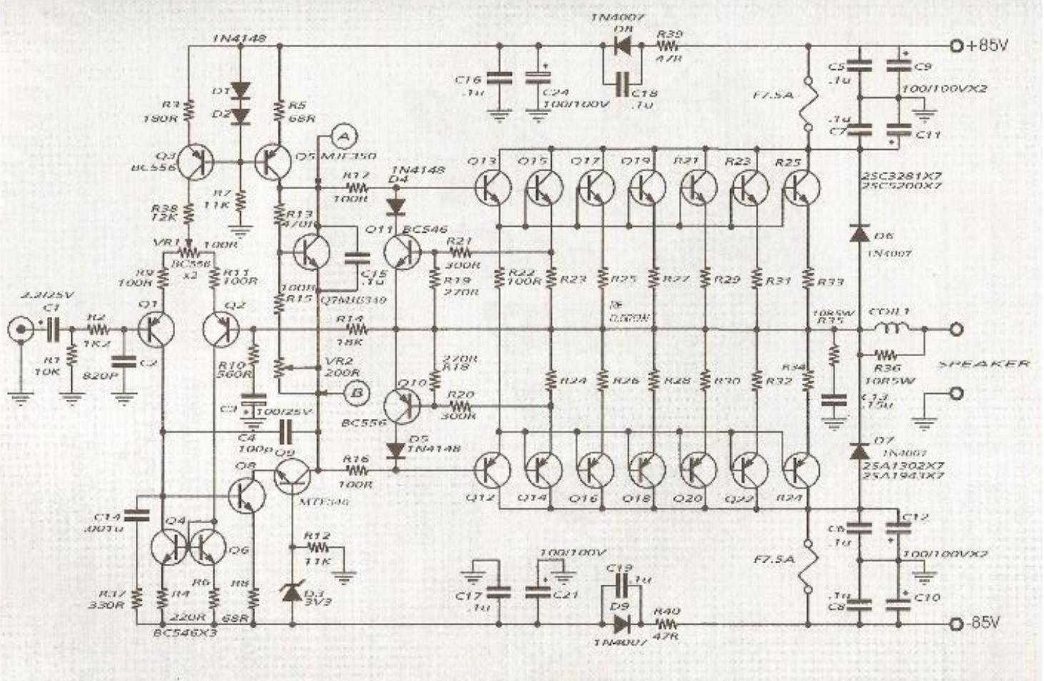600W Audio Amplifier Circuit with 85V 8Ohms  The Circuit