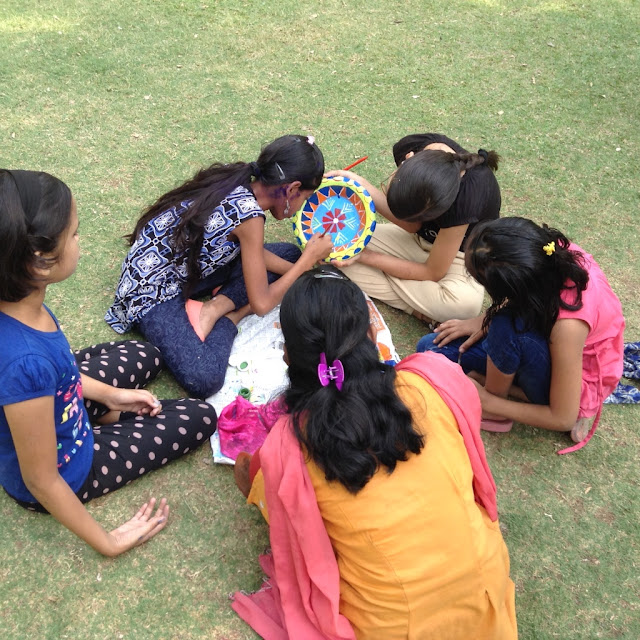 Kids paint earthen pots at their Holi celebrations - 4 (Event organised by Indiaart Gallery and Suyog Mitra Mandal)