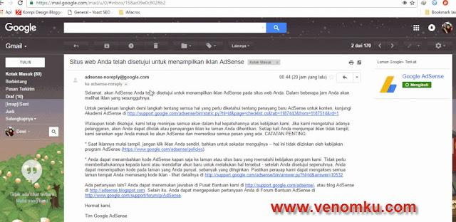 Pengalaman Diterima Google AdSense Non Hosted venomku