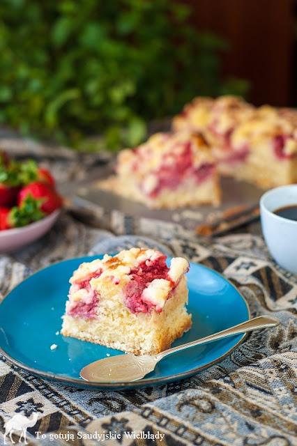Ciasto drozdzowe z truskawkami lyzka mieszane