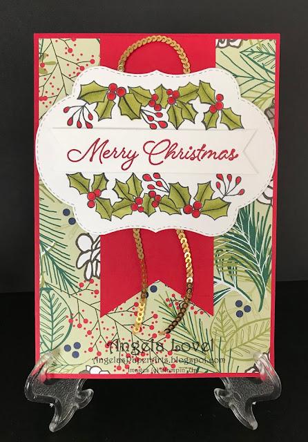 Stampin Up Blended Seasons xmas card by Angela Lovel, Angela's PaperArts