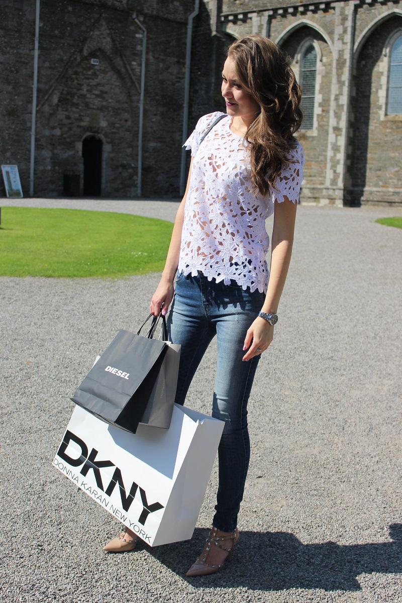 white top, shopaholic, dkny, diesel, kooples, outlet shopping, irish fashion