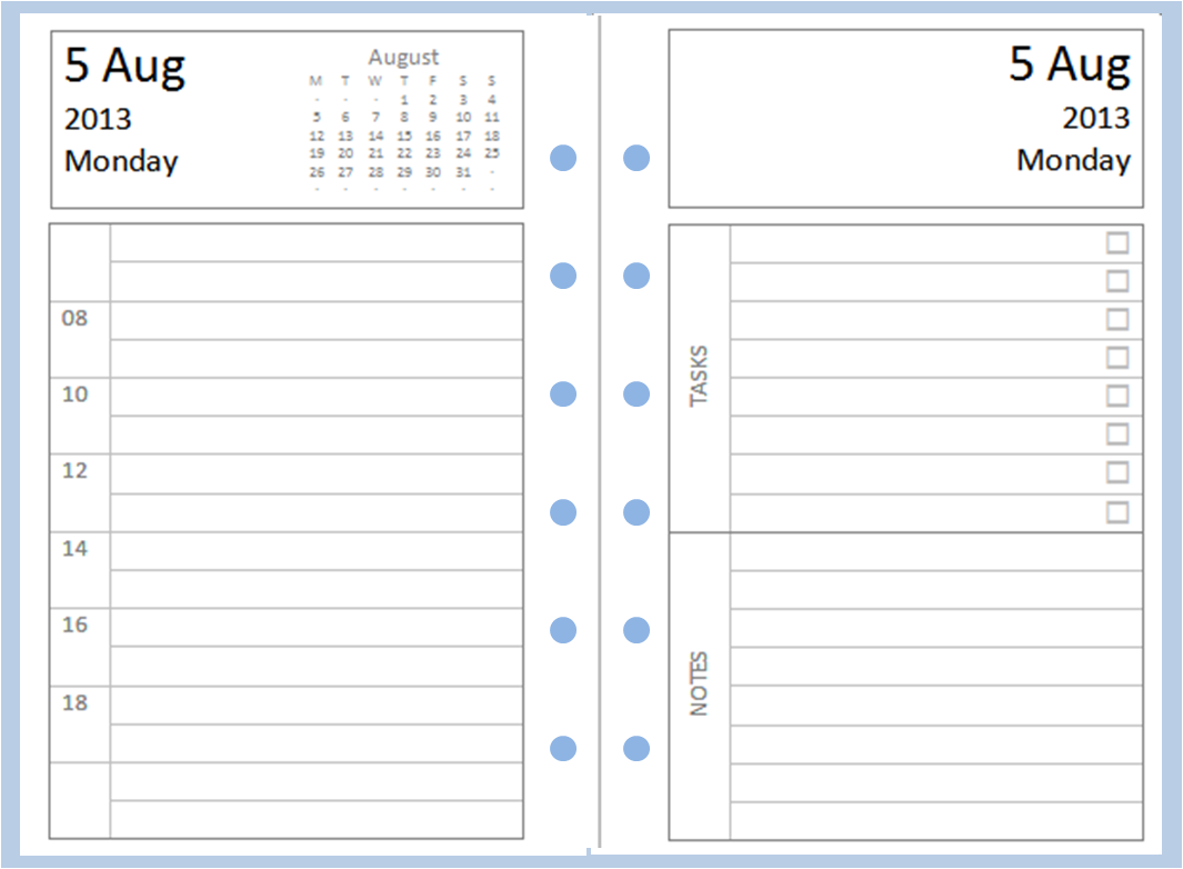 Philofaxy Free Filofax Pocket Day On Two Pages Diary To