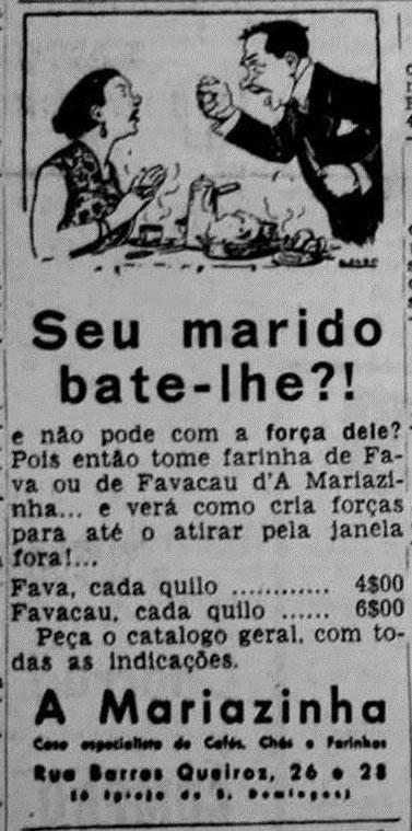 Propaganda portuguesa dos anos 50 onde insinuava violência do marido à mulher