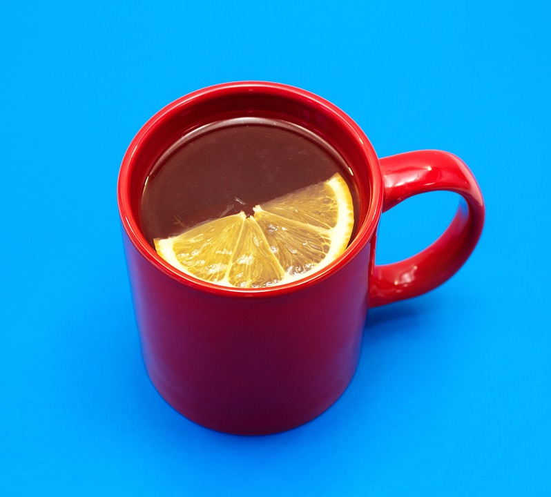lemon in red mug