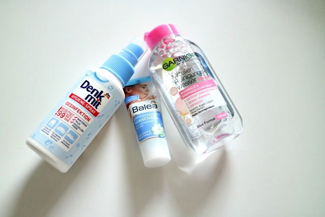 Denk mit Hygienespray, Mizellen Reinigungswasser von Garnier, balea Waschgel für´s Gesicht