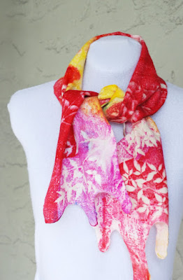 Extra fine wool and silk hand dyed wet felted scarf