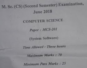 Computer Network paper question paper M Sc CS APUS, Computer