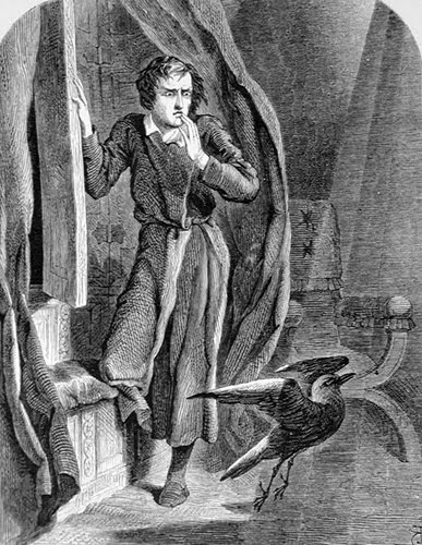 """In 1858 """"The Raven"""" appeared in a British Poe anthology with illustrations by John Tenniel, the Alice in Wonderland illustrator."""