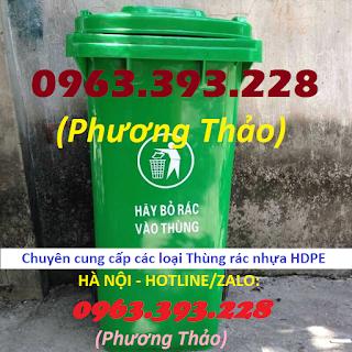 Chuyên cung cấp Thùng rác đựng chất thải, Thùng rác 120L có 2 bánh xe