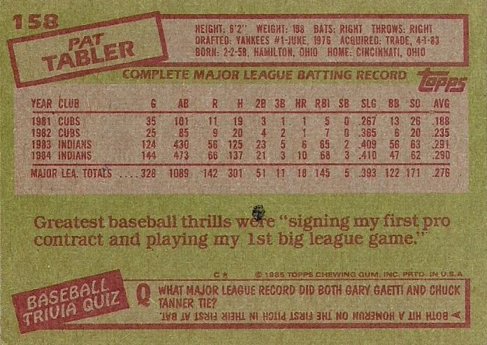 1985 Topps: #158 - Pat Tabler