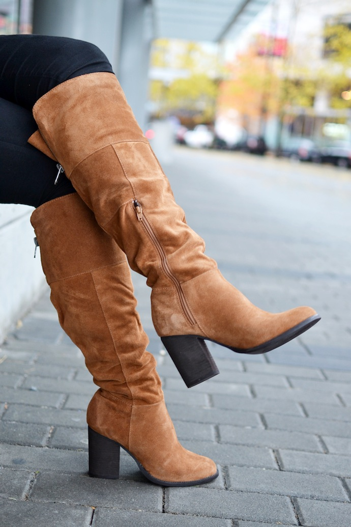 Le Chateau suede over the knee boots how to wear outfit idea Vancouver fashion blogger
