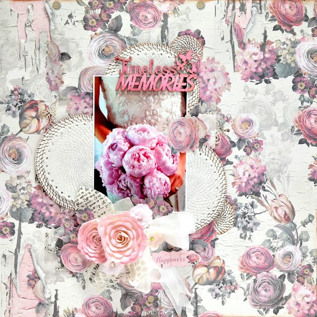 Timesless Memories Pink Wedding Layout by Dana Tatar for FabScraps