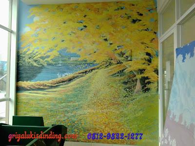 Mural lukis dinding pemandangan bunga gugur