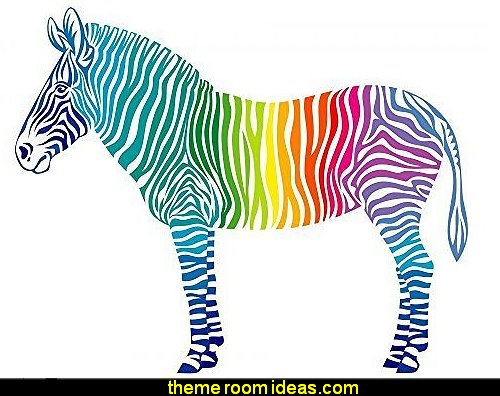 Rainbow Zebra Peel and Stick Fabric Wall Sticker