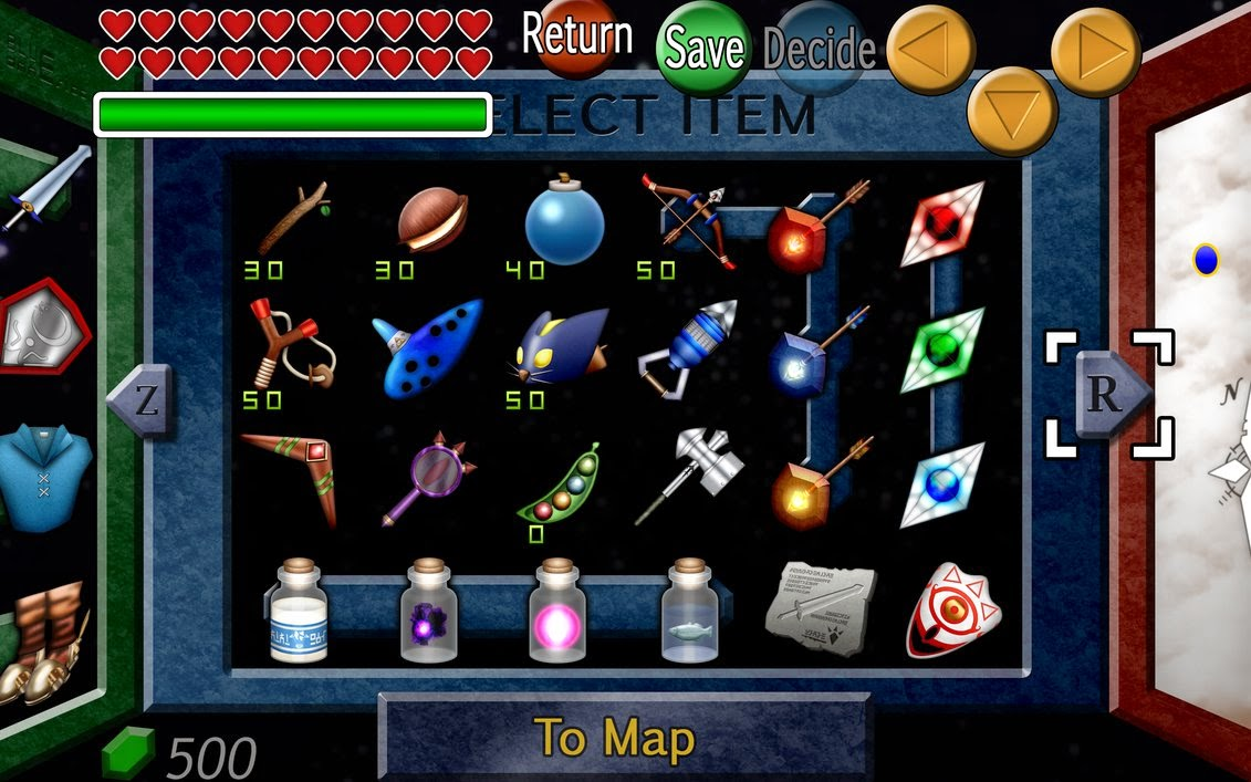 Zelda Ocarina Of Time 3d Wallpaper Writing Magical Items Weapons Attire Potions Tools