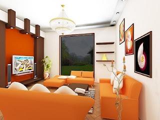 sala con muebles naranjas