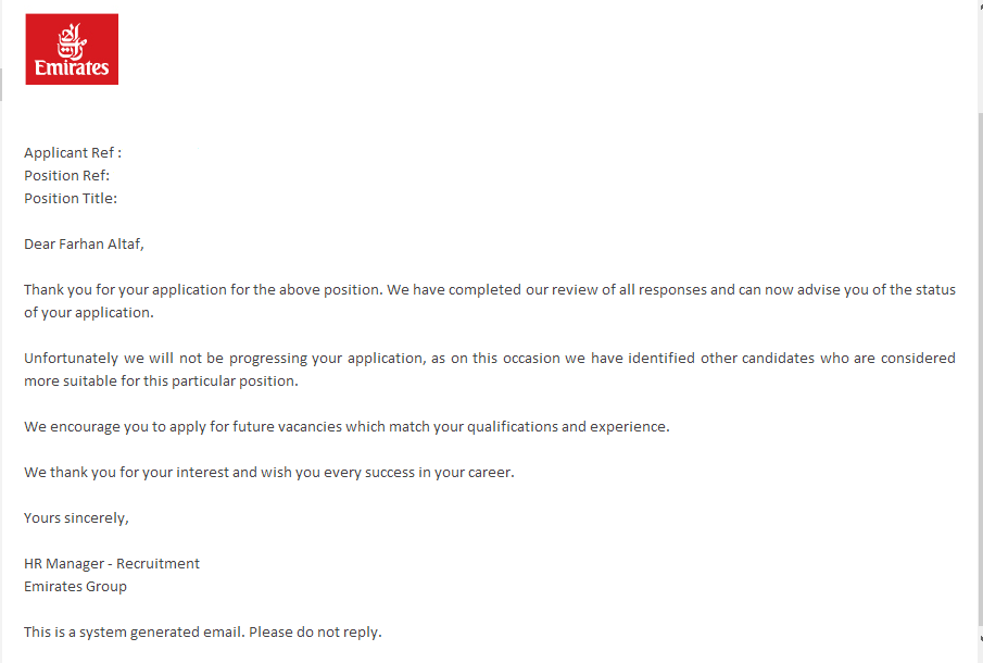 Applications: Emirates Group Application Reply