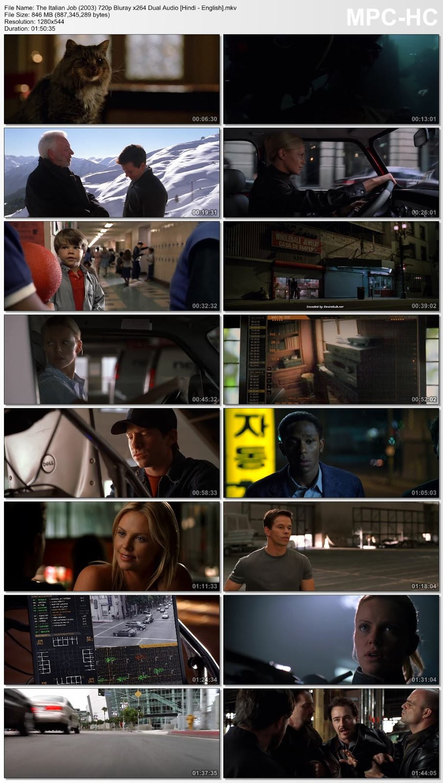The Italian Job (2003) 720p Bluray x264 Dual Audio [Hindi – English] – 850MB Desirehub