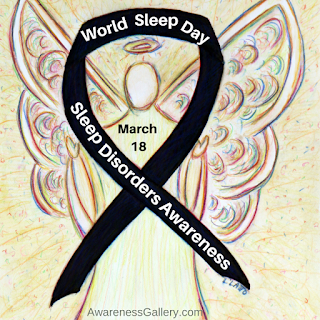 World Sleep Day Black Awareness Ribbon Angel Art