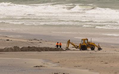 Digging and Trenching at the Milnerton Lagoon Estuary close to the Lagoon Beach Hotel