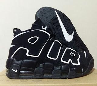 sepatu nike, sepatu basket nike, sepatu basket premium , nike basket premium, nike air uptempo, uptempo black white, sepatu basket murah, sepatu basket import,