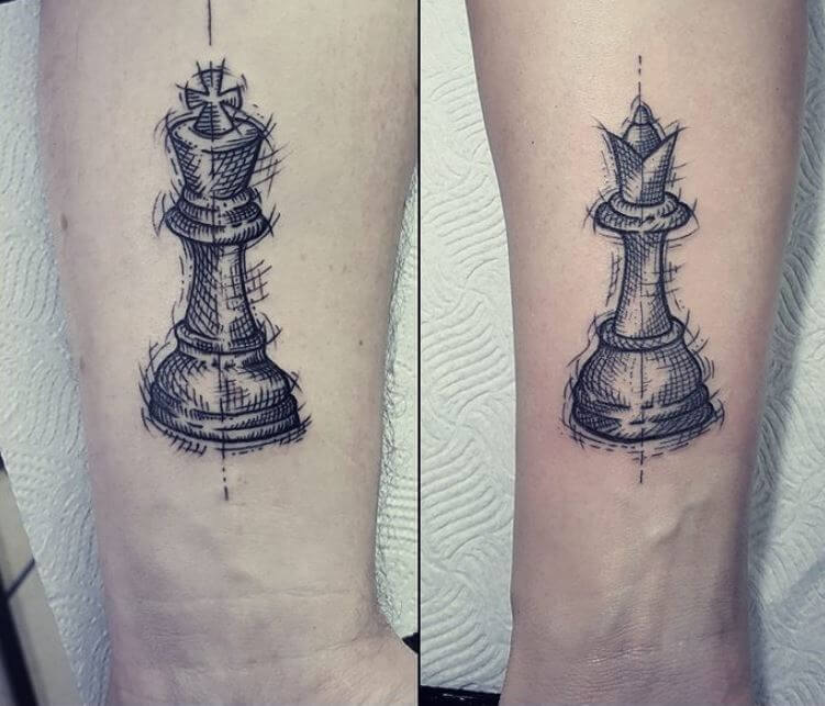 Queen Chess Piece Tattoo On Wrist 165+ Top King And Quee...