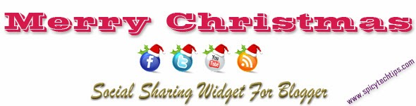 merry christmas social sharing widget, widget for blogger