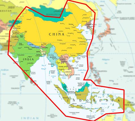 Gambar peta Hubungan Indonesia dengan pusat agama Buddha di Asia