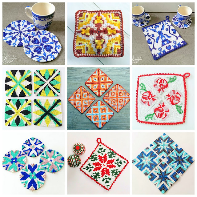 Coasters and dishcloths crochet patterns delft blue