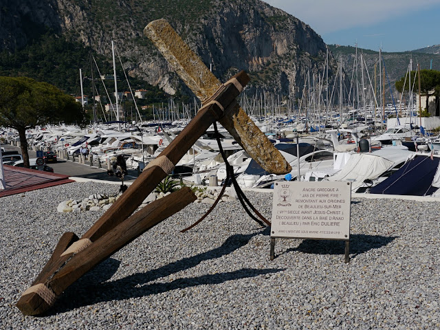This stone Greek anchor was discovered in La Baie d'Anao (Beaulieu) and dates back to the 6th century BC.  It's on display by the harbour where it was found - Beaulieu-sur-Mer.  Photo:Monte Carlo Daily