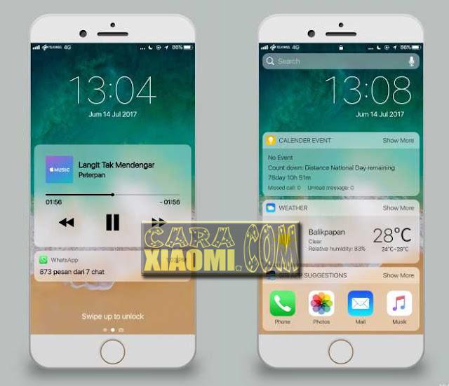 Download Tema Xiaomi Seperti Apple iOS terbaru with iOS Alakadarnya Versi 11 Terbaru Mtz