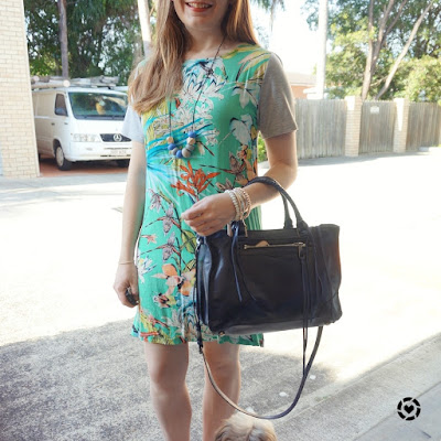 awayfromblue Instagram green botanical printed tee dress navy Regan satchel tote