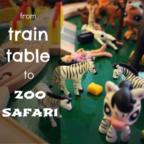 Crayon Freckles: turning our train table into a zoo safari
