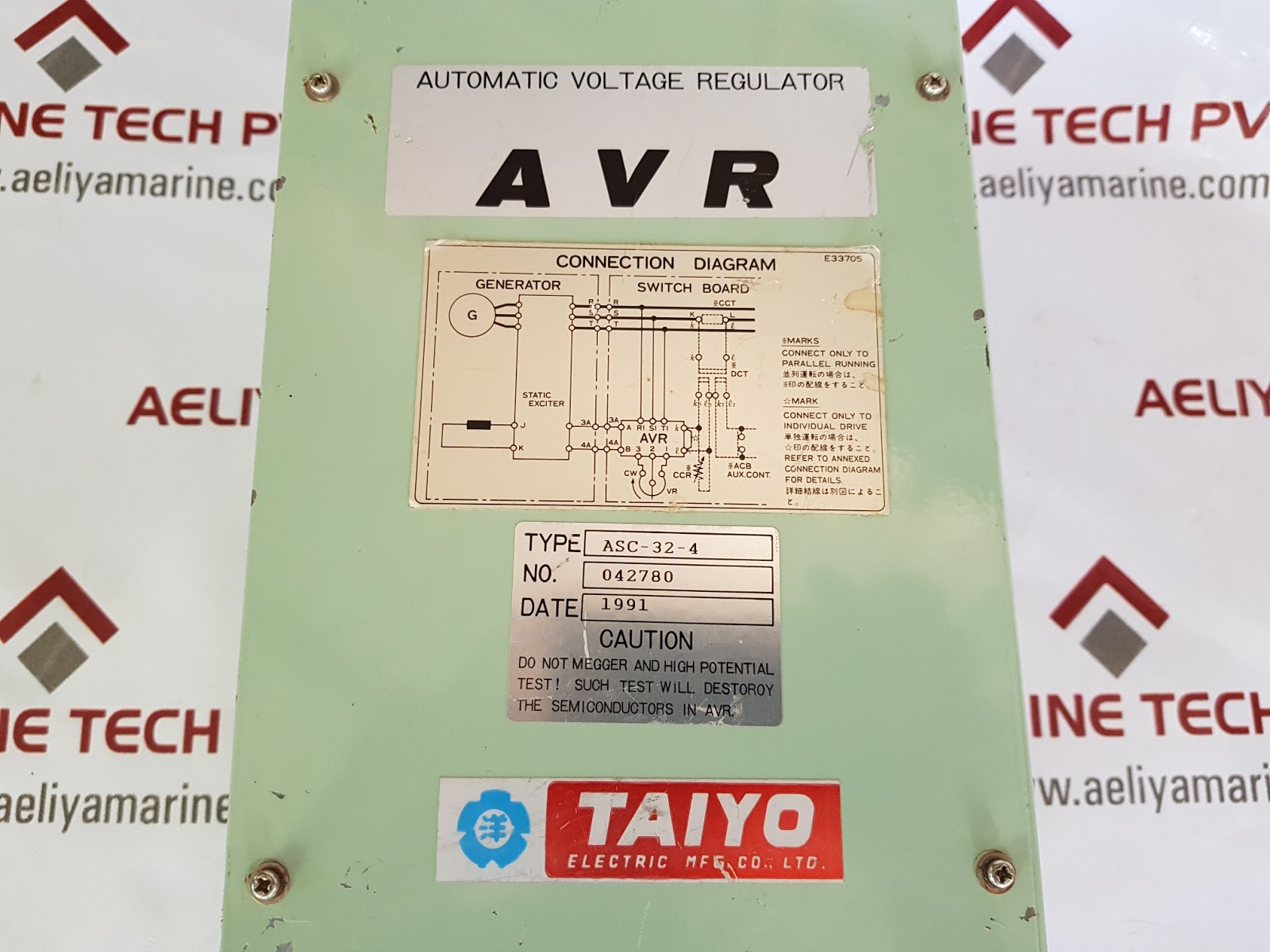 Taiyo Asc 32 4 Automatic Voltage Regulator Aeliya Marine Tech Pvt Ltd Switching Types Electric Mfgcoltd Type No 042780 Condition Used 3 Pcs