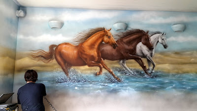 Malowanie konie, obraz ręcznie malowany, obrazy olejne, konie w galopie, malowanie koni