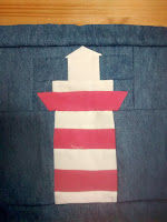 ProsperityStuff Lighthouse in progress for Nautical Quilt