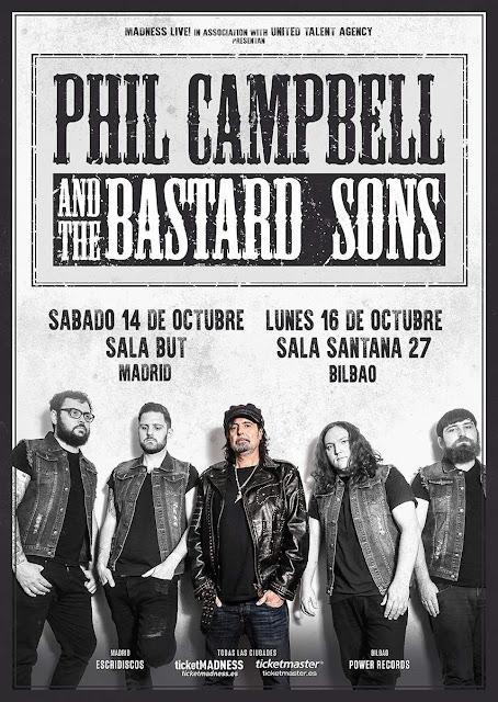 Cartel de los conciertos de Phil Campbell en España