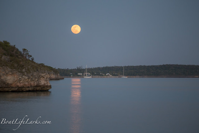 Full moon over anchorage, South Palmetto Point, Eleuthera