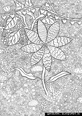 A highly detailed coloring page of flowers and plants / Todella yksityiskohtainen värityskuva kukista ja kasveista